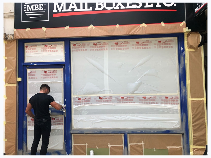 UK-Mail-Shop-Front-Respray-During