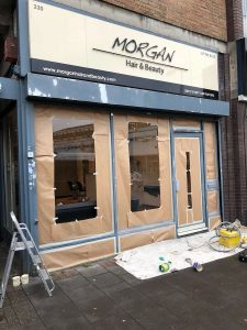 The Spraying Company completing shop front spraying in London for Morgan Hair and Heauty salon