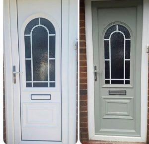 on site respray of upvc door paint in green