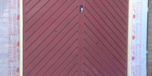 on site respray of garage door in green
