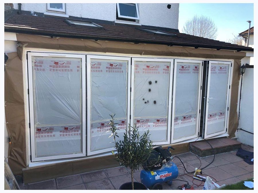 pvc bi fold door respray preparation